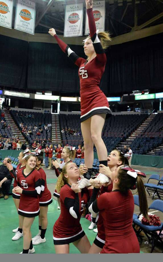 Scotia cheerleaders perform during the Class A Federation boys'  basketball final against Holy Trinity at the Times Union Center Saturday March 22, 2014, in Albany, NY.  (John Carl D'Annibale / Times Union) Photo: John Carl D'Annibale / 00026204A