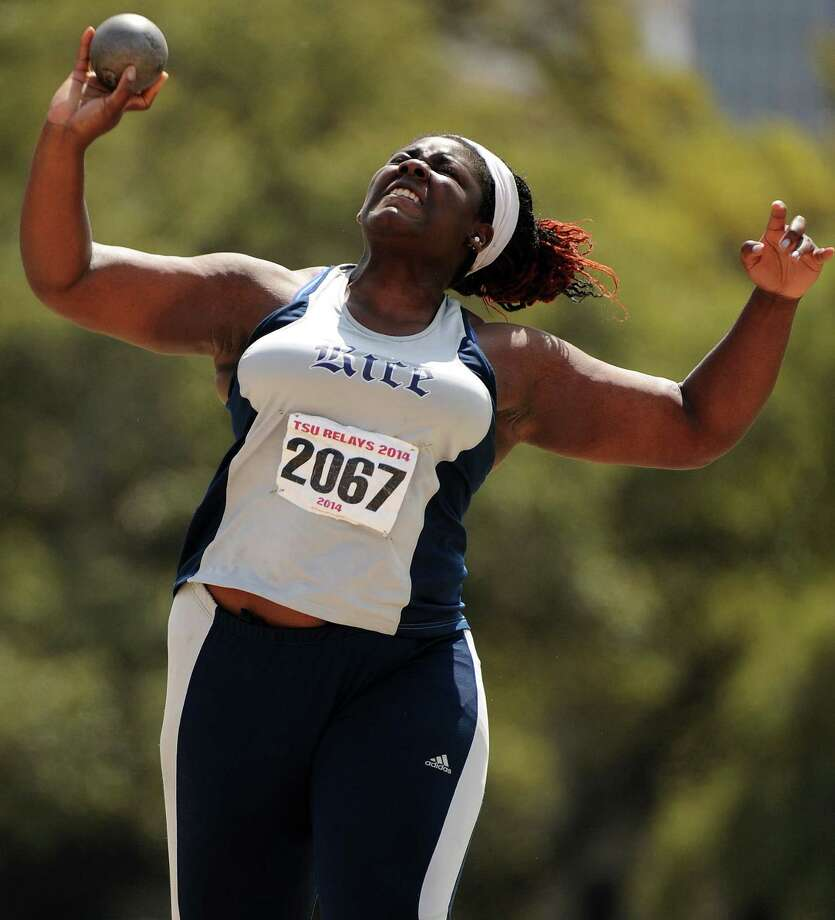 Rice's Ijeoma Ugwunze performs during the shot put competition during the TSU Relays, Saturday, March 22, 2014, at Holloway Field at Rice University in Houston. Photo: Eric Christian Smith, For The Chronicle