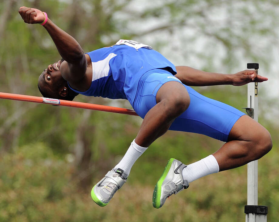 HBU'S Davis Iheanacho performs in the high jump competition during the TSU Relays, Saturday, March 22, 2014, at Holloway Field at Rice University in Houston. Photo: Eric Christian Smith, For The Chronicle