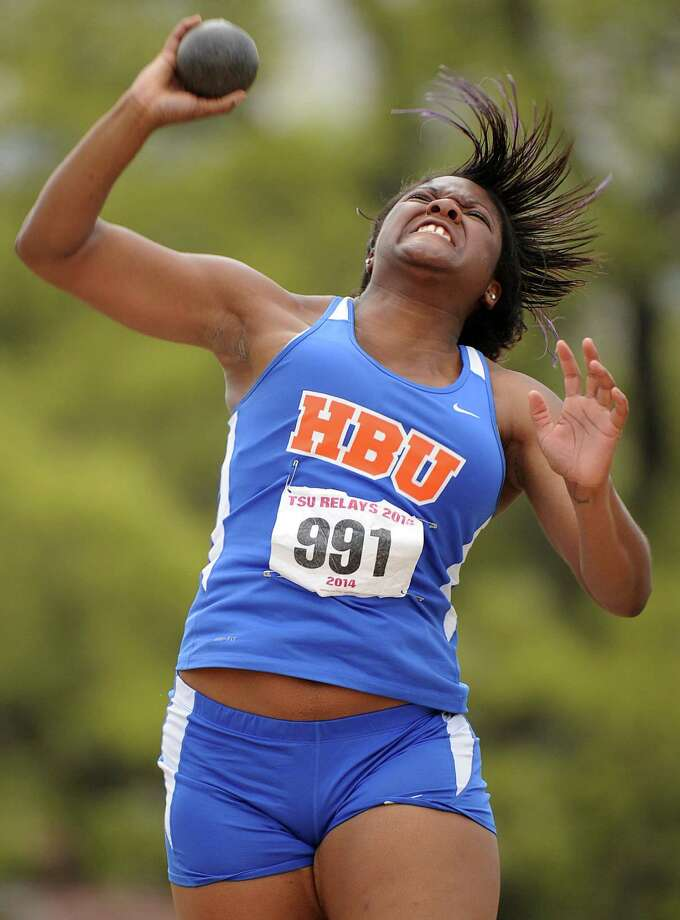 HBU'sperforms during the shot put competition during the TSU Relays, Saturday, March 22, 2014, at Holloway Field at Rice University in Houston. Photo: Eric Christian Smith, For The Chronicle