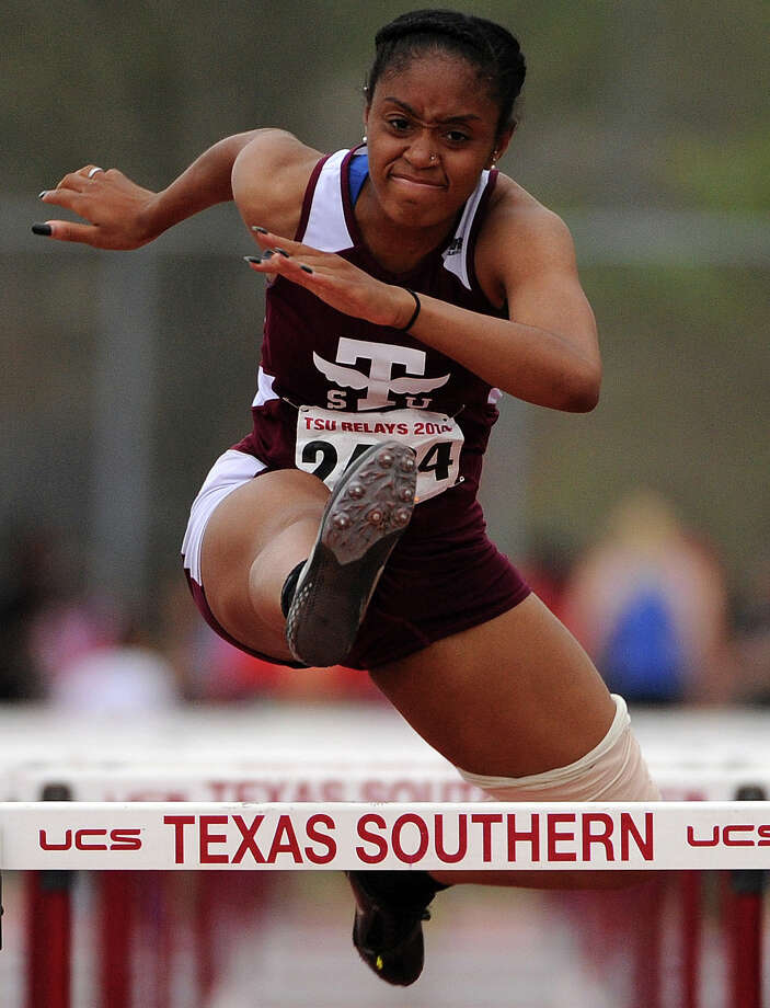 TSU's Jeressa Mathis competes during the 100-meter hurdles event during the TSU Relays, Saturday, March 22, 2014, at Durley Stadium in Houston. Photo: Eric Christian Smith, For The Chronicle