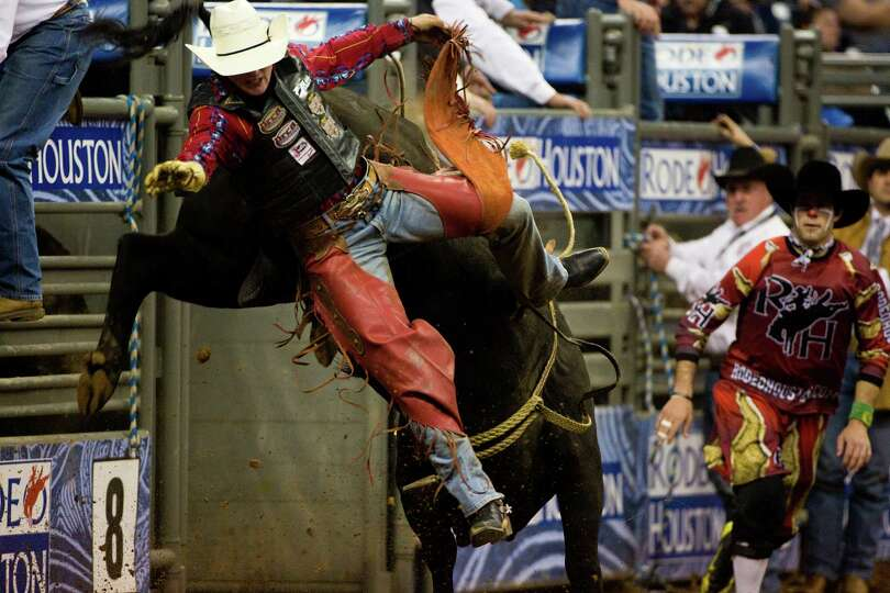 Cheyne Olney competes in the BP Super Series Championship Bull Riding competition during Houston Liv