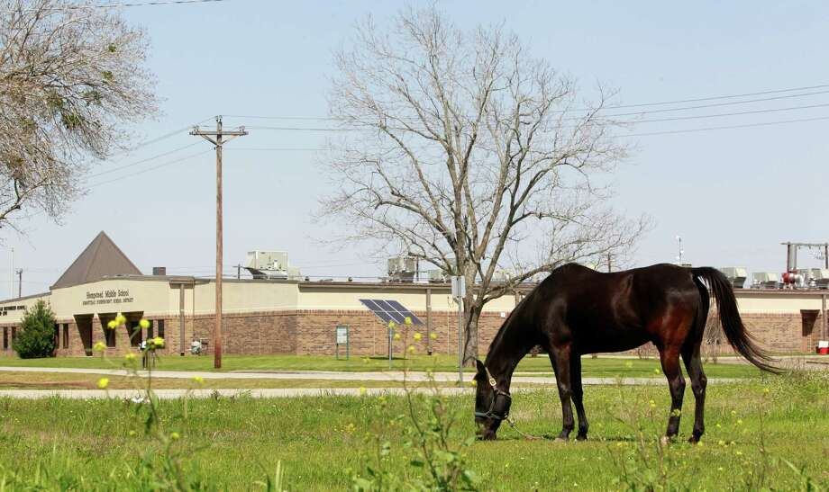 A horse grazes near the Hempstead Middle School Thursday, March 20, 2014 in Hempstead. Hempstead Middle School principal Amy Lacey was placed on paid administrative leave in December after reportedly announcing, via intercom, that students were not to speak Spanish on the school's campus. She has been fired. Photo: Melissa Phillip, Houston Chronicle / © 2014  Houston Chronicle