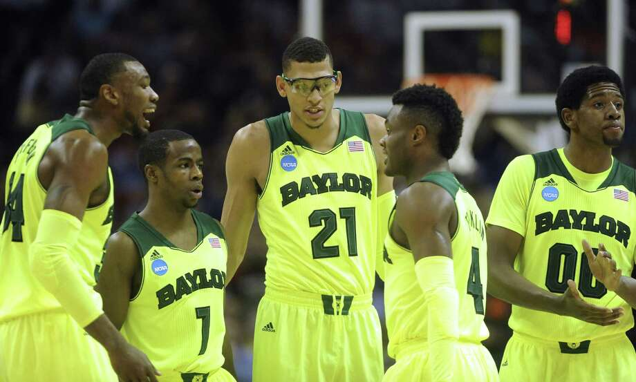 Baylor's Cory Jefferson (from left), Kenny Chery, Isaiah Austin, Gary Franklin, one of the Bears' key reserves, and Royce O'Neale will have their hands full today trying to contain Creighton's potent offense in the NCAA tournament third-round game. Photo: Photos By Billy Calzada / San Antonio Express-News / San Antonio Express-News
