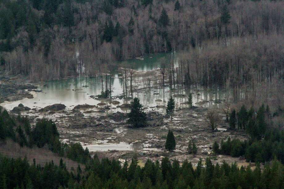 An aerial view of the Stillaguamish River and the extensive damage from the landslide, along State Route 530 between the cities of Arlington and Darrington, on Saturday, March 22, 2014. Photo: Marcus Yam/The Seattle Times/via AP / The Seattle Times