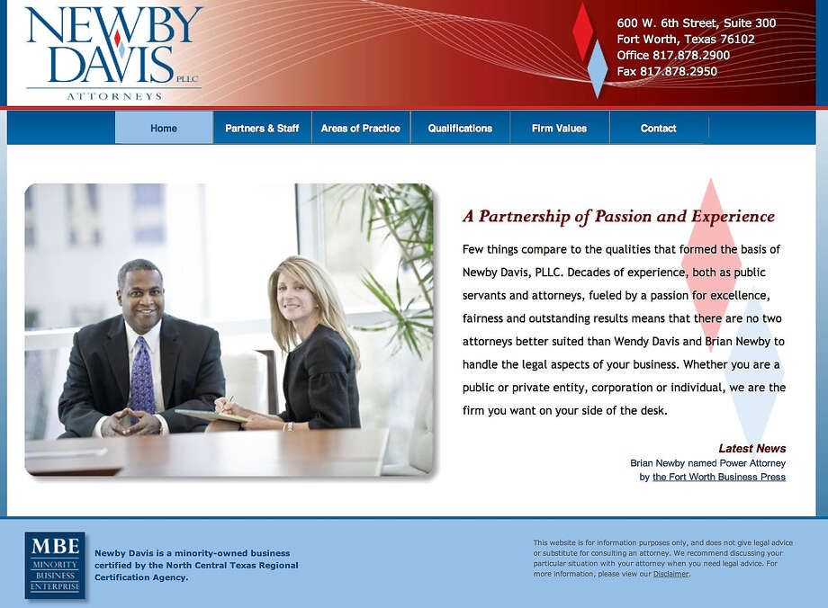 State Sen. Wendy Davis, D-Fort Worth, is pictured with law partner Brian Newby, Republican Gov. Rick Perry's former chief of staff. Photo: Screen Capture / SCREEN CAPTURE FROM NEWBY DAVIS LAW FIRM