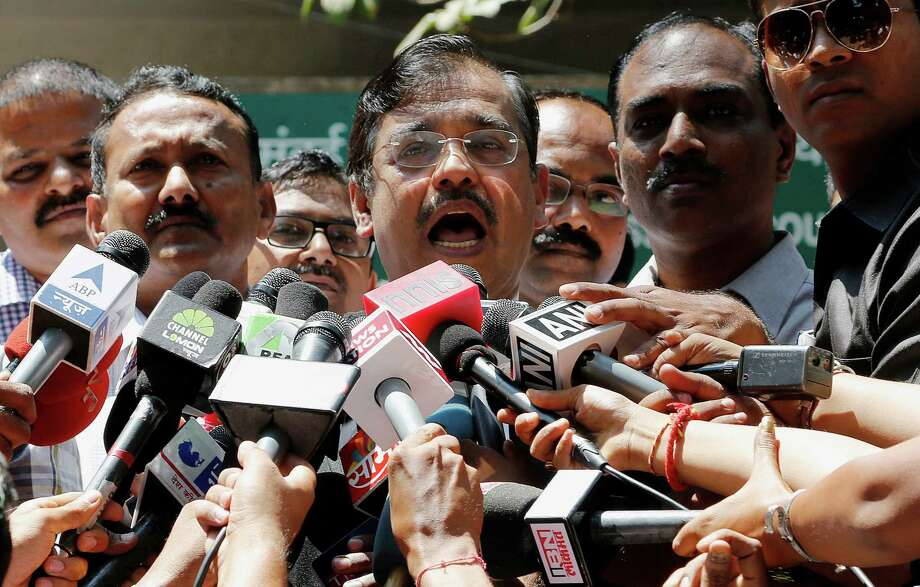 Special Public Prosecutor Ujjwal Nikam speaks to the media outside a court in Mumbai, India, Friday, March 21, 2014. The Indian court sentenced four men to life in prison on Friday for raping a call-center operator last year inside an abandoned textile mill in the financial hub of Mumbai. Nikam said the Mumbai court delivered the maximum punishment to the four after finding them guilty of rape, unnatural sex and abduction. Photo: Rajanish Kakade, AP / AP2014