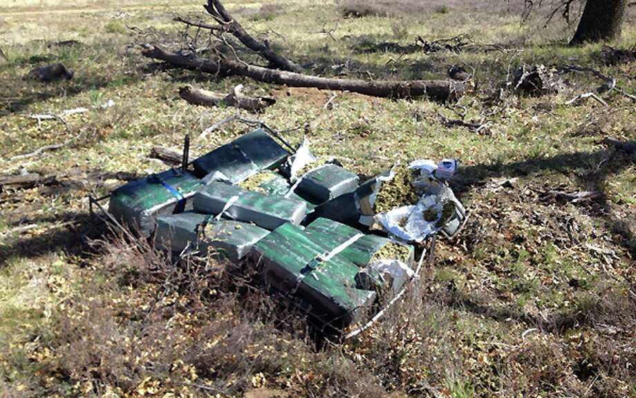 This image provided Saturday March 22, 2014, by U.S. Immigration and Customs Enforcement (ICE), shows drug bundles at a crash site Friday where Federal authorities said an ultralight aircraft carrying about 250 pounds of marijuana crashed in the mountains east of San Diego. Photo: Uncredited, AP / AP2014