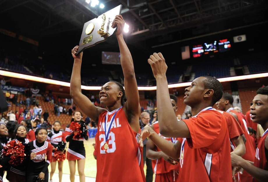 (2) Bridgeport Central  The Hilltoppers rallied from an 18-point deficit to stun No. 1 Fairfield Prep 76-73 in the Class LL high school state championship game. Central, led by FCIAC player of the year, Tyler Ancrum, Sha'quan Bretoux, and Marcus Blackwell, were a team loaded with incredible talent. Central (27-1) also captured the FCIAC championship. Photo: Tyler Sizemore / The News-Times
