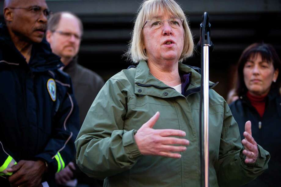 Senator Patty Murray addresses a crowd of Snohomish County residents and media during a mudslide update at a media availability segment Sunday, March 23, 2014, outside of the Arlington Police Department in Arlington, Wash. Authorities say 18 people are unaccounted for after a massive mudslide killed at least three people and destroyed 30 homes, forcing evacuations from fears of the Stillaguamash River flooding. Photo: JORDAN STEAD, SEATTLEPI.COM / SEATTLEPI.COM