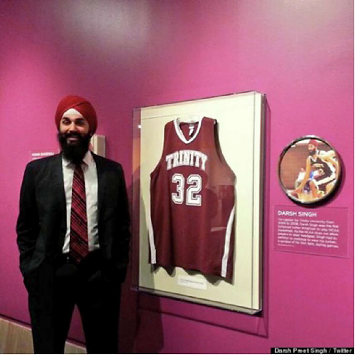 Darsh Preet Singh, the first turbaned Sikh basketball player to play in the NCAA while he was at Trinity University.