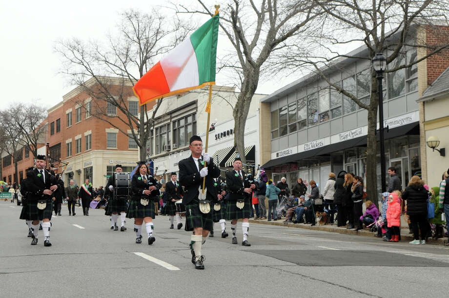 The Greenwich Pipe Band makes its way down the Avenue during the Greenwich's St. Patrick's Day Parade in Greenwich, Conn., March 23, 2014. The parade sets off from the Town Hall and finishes at the bottom of Greenwich Avenue. Photo: Keelin Daly / Stamford Advocate Freelance