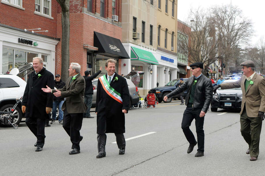 Greenwich's St. Patrick's Day Parade Grand Marshal William Gallagher leads the way down Greenwich Avenue in Greenwich, Conn., March 23, 2014. The parade sets off from the Town Hall and finishes at the bottom of Greenwich Avenue. Photo: Keelin Daly / Stamford Advocate Freelance