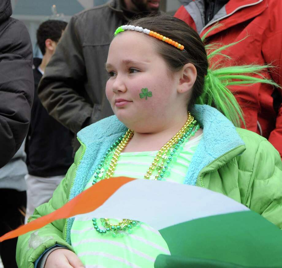 Sarah Boutelle, 10, channels her inner Irish during Greenwich's 40th St. Patrick's Day Parade in Greenwich, Conn., March 23, 2014. The parade sets off from the Town Hall and finishes at the bottom of Greenwich Avenue. Photo: Keelin Daly / Stamford Advocate Freelance