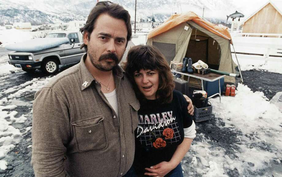Mike and Pamela McMillen sold their Harley motorcycle and everything they could to come to Alaska to find a job helping clean up the Exxon Valdez oil spill. Photo: Stapleton, AP / AP