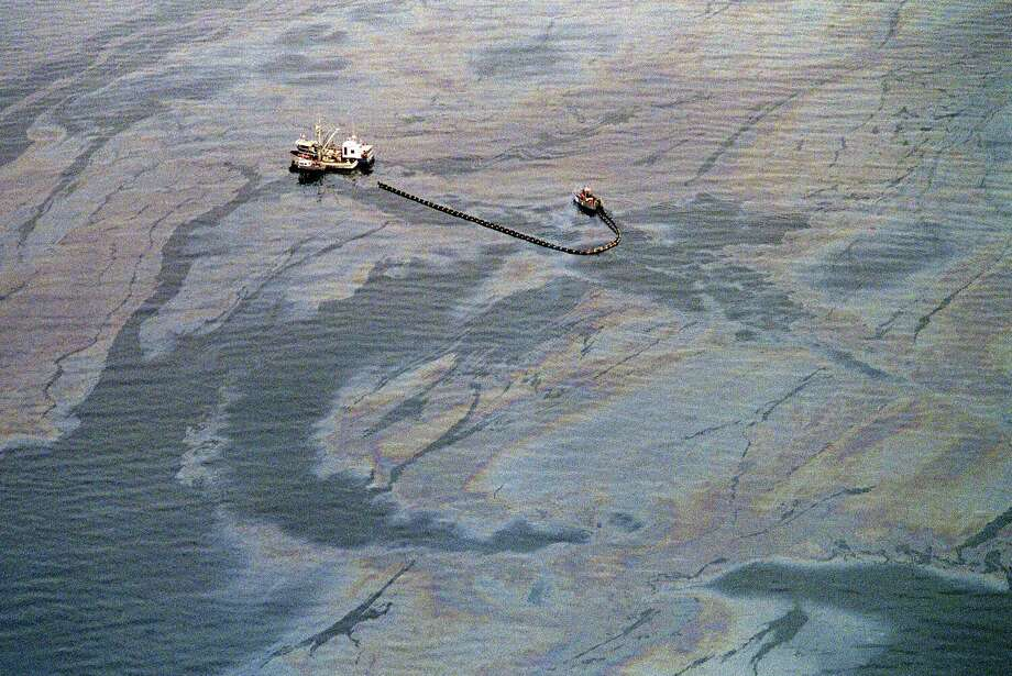 An oil skimming operation works in a heavy oil slick near Latouche Island near the southwest end Prince William Sound in Valdez, a week after the beginning of an oil disaster which occurred when the tanker Exxon Valdez ran aground and spilled 11 million gallons of crude oil into Prince William Sound off Alaska. Photo: CHRIS WILKINS, AFP/Getty Images / 2013 AFP