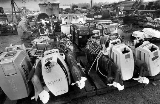The container dock in Valdez harbor is being used as a collection point for the massive amount of equipment used during the Exxon Valdez oil spill cleanup operations in Prince William Sound in Valdez  Sept. 14, 1989. Photo: Al Grillo, AP / AP