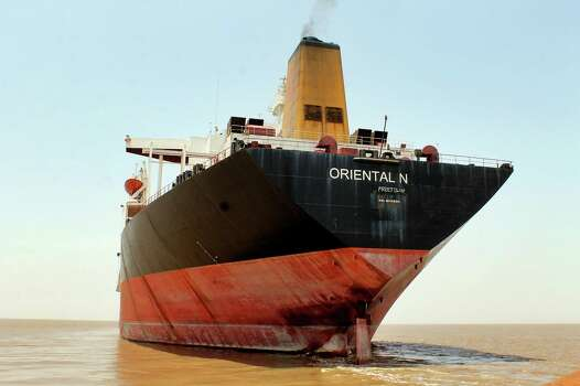 "The Exxon Valdez, renamed ""Oriental Nicety"" is pictured in 2012, anchored some six nautical miles off the Bhavnagar coast near Alang ship-breaking yard in western Indian state of Gujarat, India.  India's Supreme Court had banned the ship from entering the country, saying it was involved in one of the worst U.S. oil spills will not be allowed in for dismantling until it has been decontaminated, but it was eventually let in for scrapping. Photo: Uncredited, ASSOCIATED PRESS / AP2012"