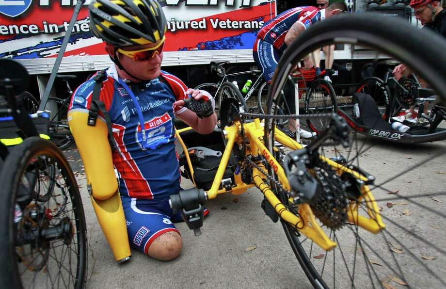 U.S. Marine Corps Staff Sergeant Timothy Brown prepares to begin the UnitedHealthcare Ride 2 Recovery Texas Challenge. Photo: Melissa Phillip, Staff / © 2014  Houston Chronicle