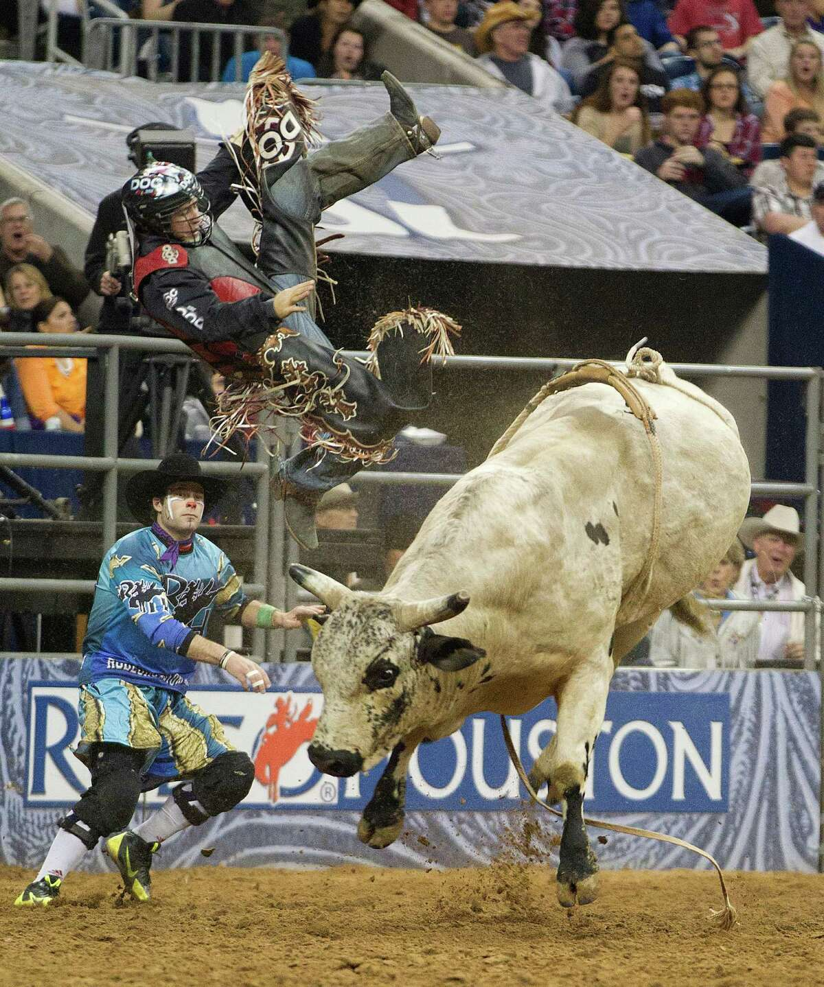 Friday Wright is thrown off his bull during the RodeoHouston Super Shootout Bull Riding event at Reliant Stadium Sunday, March 23, 2014, in Houston.