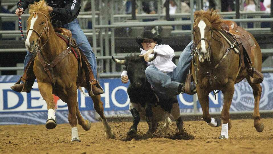 Trevor Knowles won $25,000 for winning the RodeoHoustong Super Shootout Steer Wrestling event at Rel