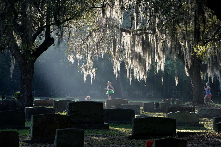 Runners and walkers pass under oaks trees as they made their way through the Evergreen Cemetery during the St. Paddy's Run, Sunday March 23, 2014, in Jacksonville, Fla. The run, which is part of the Jacksonville Grand Prix, benefited the Jacksonville Historical Society and Springfield Improvement Association. (AP Photo/The Florida Times-Union, Bruce Lipsky) Photo: Bruce Lipsky, Associated Press