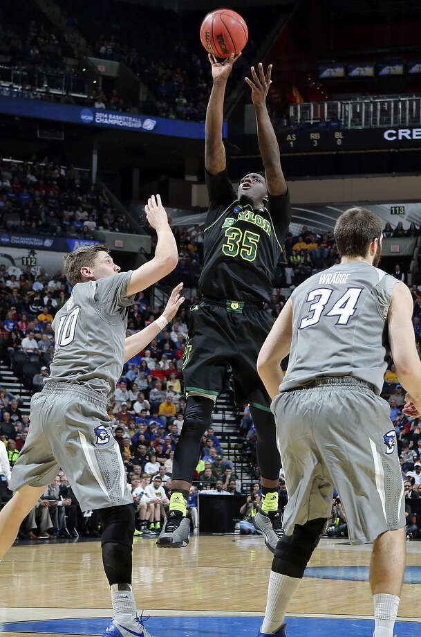 Baylor's Taurean Prince (center), a Warren product, shoots between Creighton's Grant Gibbs (left) and Ethan Wragge. Prince had two points. Photo: Edward A. Ornelas / San Antonio Express-News / © 2014 San Antonio Express-News