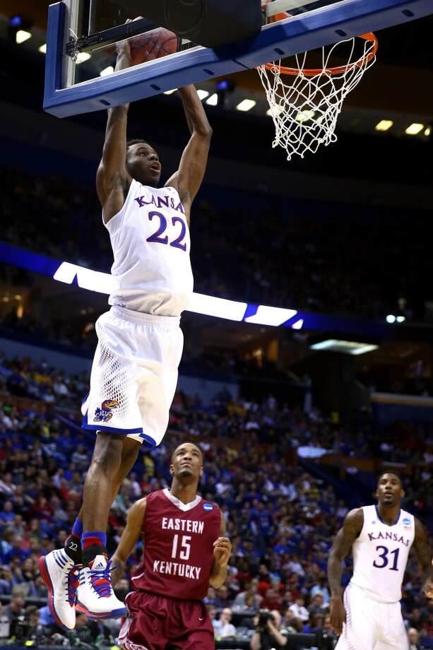 March 21: Second round  No. 2 Kansas 80, No. 15 Eastern Kentucky 69 Andrew Wiggins soars high for two of his 19 points. Photo: Andy Lyons, Getty Lyons