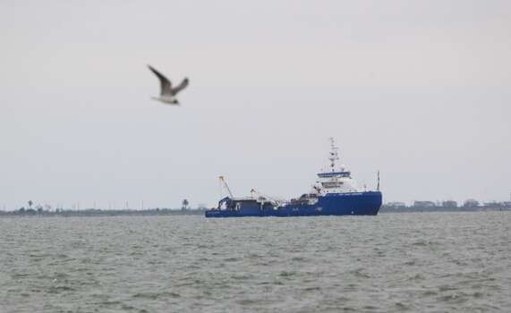 A Gulf Coast Responder ship is seen near Boddeker Road along the east end of Galveston Monday March 24, 2014. Photo: Cody Duty, Houston Chronicle
