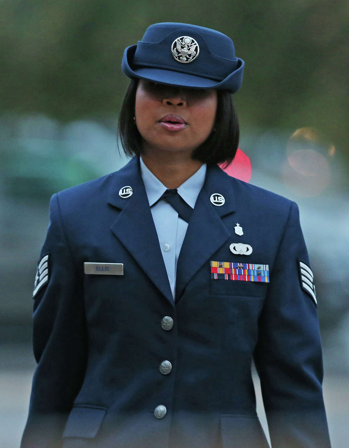 U.S. Air Force Staff Sgt. Annamarie Ellis arrives at Lackland Air Force Base for her trial on malt raining and maltreating basic trainees charges, Monday, March 24, 2014.
