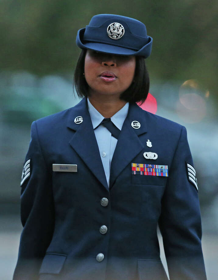 U.S. Air Force Staff Sgt. Annamarie Ellis arrives at Lackland Air Force Base for her trial on malt raining and maltreating basic trainees charges, Monday, March 24, 2014. Photo: JERRY LARA, San Antonio Express-News / © 2014 San Antonio Express-News