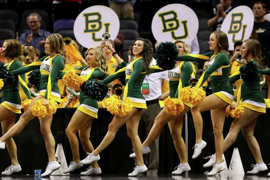SAN ANTONIO, TX - MARCH 23:  Baylor Bears cheerleaders perform during the third round of the 2014 NCAA Men's Basketball Tournament against the Creighton Bluejays at the AT&T Center on March 23, 2014 in San Antonio, Texas. Photo: Ronald Martinez, Getty Images / 2014 Getty Images