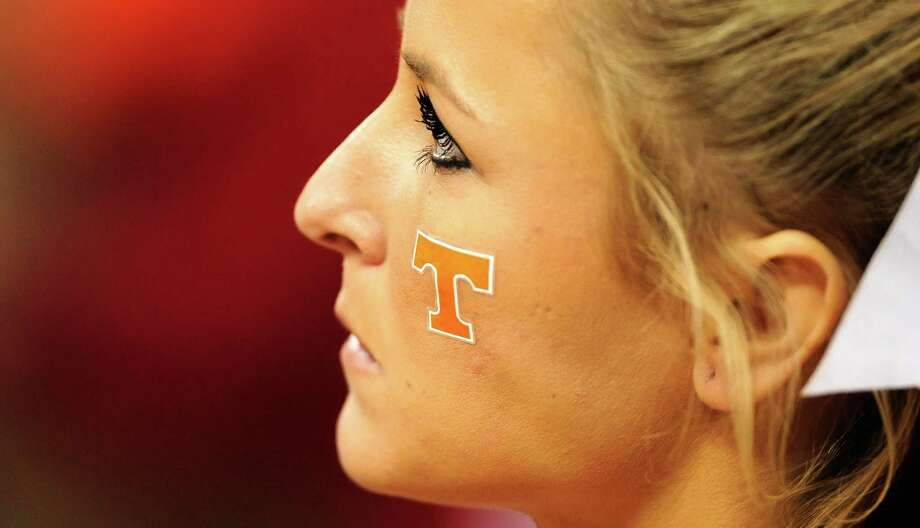 RALEIGH, NC - MARCH 23: A Tennessee Volunteers cheerleader looks on in the second half against the Mercer Bears during the third round of the 2014 NCAA Men's Basketball Tournament at PNC Arena on March 23, 2014 in Raleigh, North Carolina. Photo: Grant Halverson, Getty Images / 2014 Getty Images