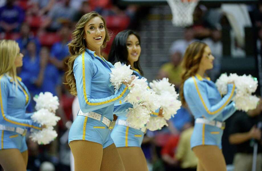 SAN DIEGO, CA - MARCH 23:  UCLA Bruins cheerleaders perform in the first half against the Stephen F. Austin Lumberjacks during the third round of the 2014 NCAA Men's Basketball Tournament at Viejas Arena on March 23, 2014 in San Diego, California. Photo: Donald Miralle, Getty Images / 2014 Getty Images