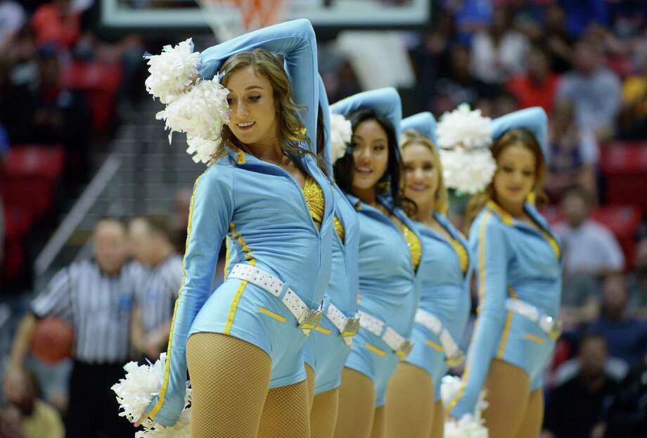 SAN DIEGO, CA - MARCH 23:  UCLA Bruins cheerleaders perform in the second half against the Stephen F. Austin Lumberjacks during the third round of the 2014 NCAA Men's Basketball Tournament at Viejas Arena on March 23, 2014 in San Diego, California. Photo: Donald Miralle, Getty Images / 2014 Getty Images