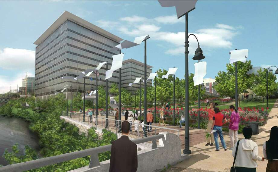 An architectural rendering of the proposed Gateway Harbor Point office buildings as would be seen from Pulaski Street. Photo: File Photo, ST / Stamford Advocate File Photo