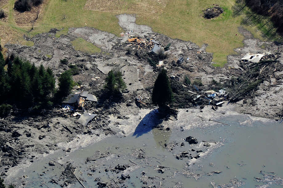 View of the landslide site from the governor's aircraft on Sunday. Photo: By Weldon Wilson