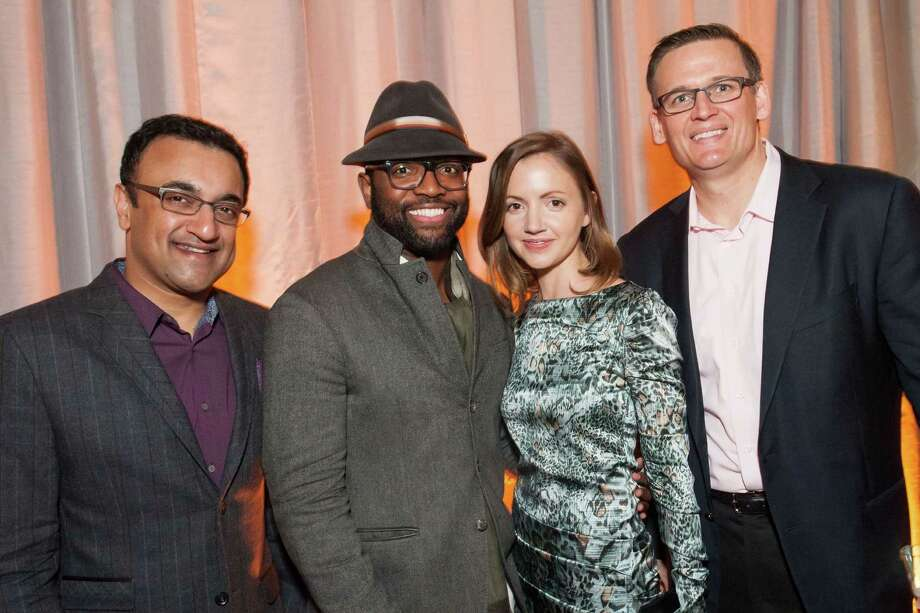 Sam Kumar, Baratunde Thurston, Elizabeth Stewart and Ted Tobiason at the 2014 BUILD Gala on March 1, 2014. Photo: Drew Altizer Photography