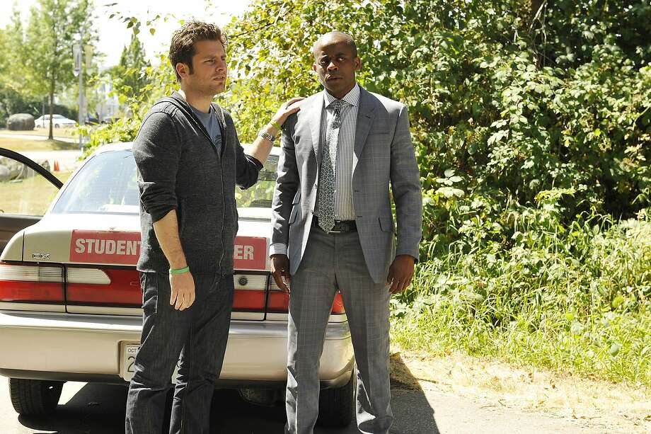 "PSYCH -- ""The Break-Up"" Episode 810 -- Pictured: (l-r) James Roday as Shawn Spencer, Dule Hill as Gus Guster Photo: Alan Zenuk, USA Network"