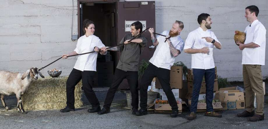 The San Francisco Chronicle's Rising Star Chefs of 2014: Timmy Malloy of Local's Corner, left, James LaLonde of Bocadillos, Jared Rogers of Picco, Jessica Largey of Manresa, and Dante Cecchini of Marlowe. Photo: Russell Yip, The Chronicle