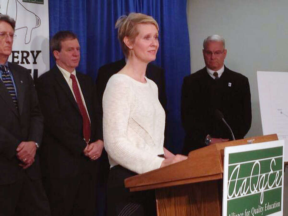 Actress Cynthia Nixon and top education officials pushed for more funding for schools during a Monday morning press conference at the Legislative Office Building in Albany, N.Y. (Lori Van Buren/Times Union)