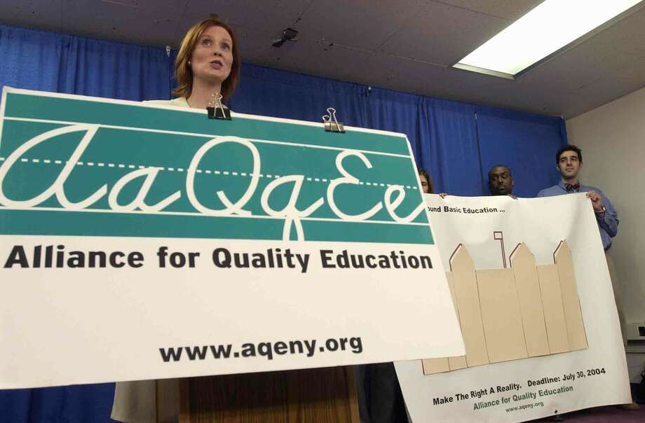 Times Union staff photo by Paul Buckowski ---  Cynthia Nixon, left, addresses those gathered at a press conference held by the Alliance for Quality Education, at the Capitol in Albany, N.Y., on Tuesday, March 9, 2004.  Nixon said that she is a mother of a public school student who is having her constitutional right to a sound basic education denied. ORG XMIT: MER2014032407160130 Photo: PAUL BUCKOWSKI / ALBANY TIMES UNION