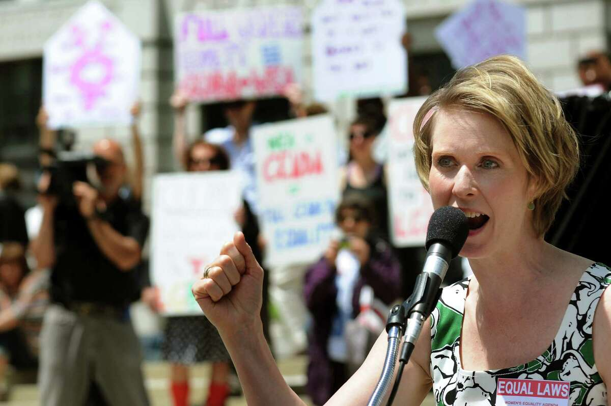 Actress and activist Cynthia Nixon speaks during a rally in support of the Women's Equality Agenda on Tuesday, June 4, 2013, at West Capitol Park in Albany, N.Y. (Cindy Schultz / Times Union) ORG XMIT: MER2014032407144625