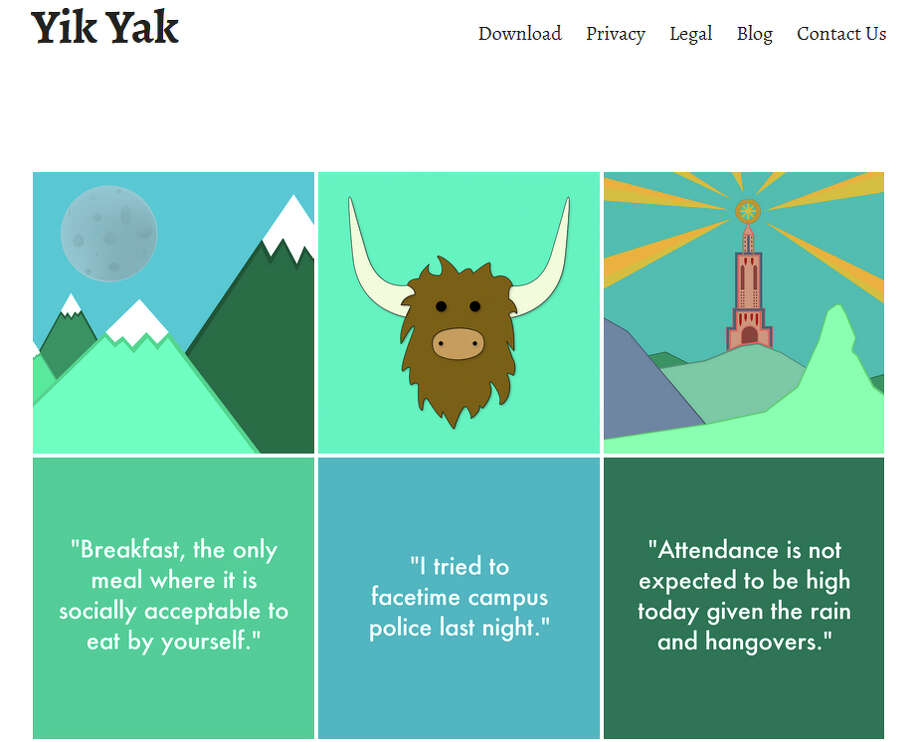 A screen grab of the download page for Yik Yak, a new social-media app that allows users to anonymously send and receive posts, known as âÄúyaks,âÄù to nearby users. Photo: Contributed Photo / Greenwich Time Contributed