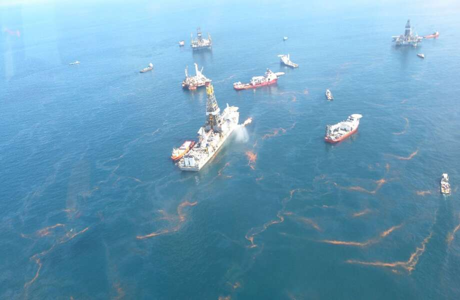 Oil is seen in the Gulf of Mexico near the site of the Macondo well blowout on May 20, 2010. Photo: National Oceanic And Atmospheric Administration