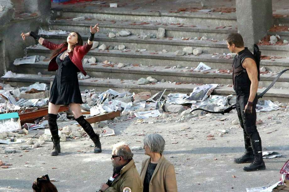 "Elizabeth Olsen and Jeremy Renner are seen filming on location for ""Avengers: Age of Ultron"" in Aosta, Italy. Check out the rest of the action in this slideshow. Photo: Photopix, Getty Images / 2014 Photopix"