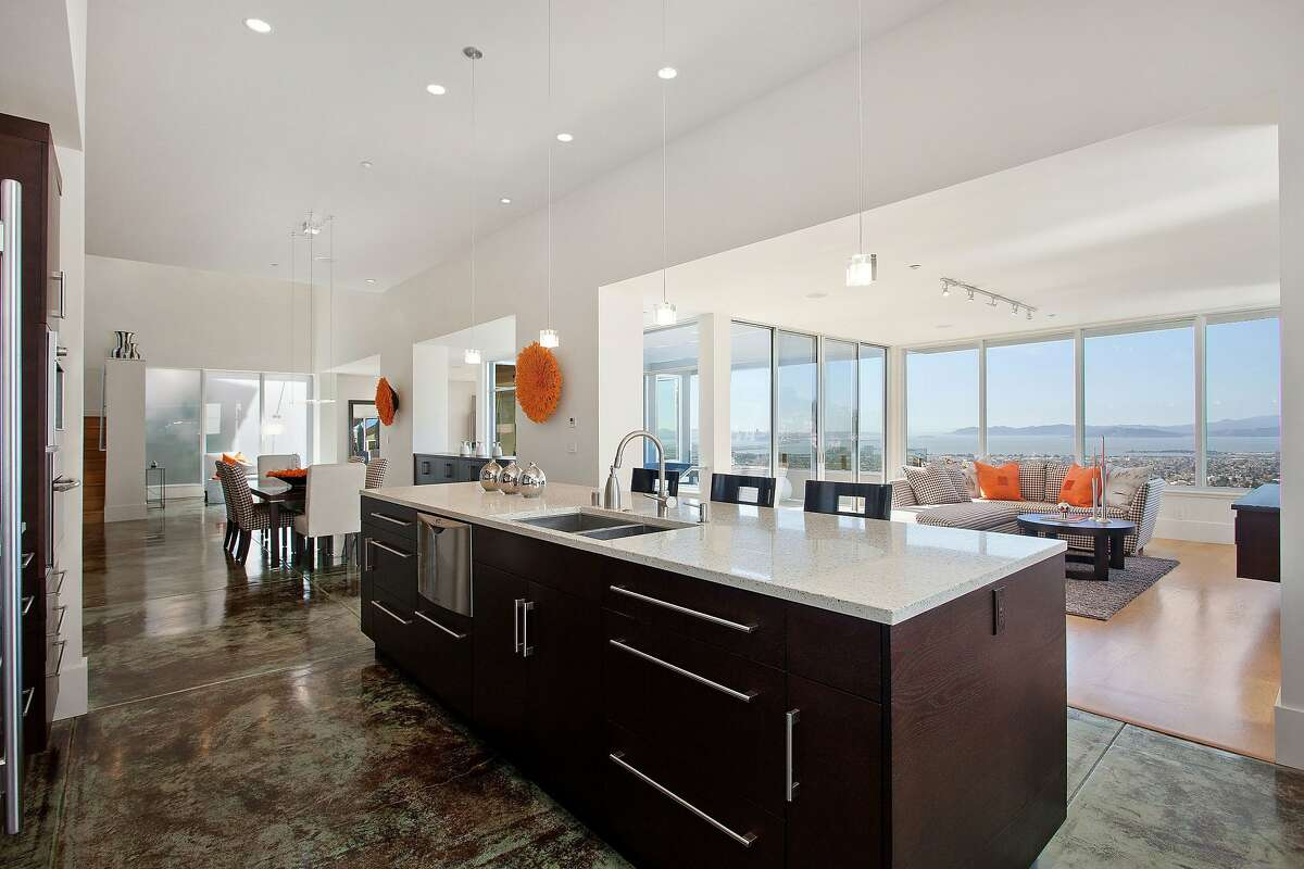 The high-tech kitchen looks out at San Francisco Bay.