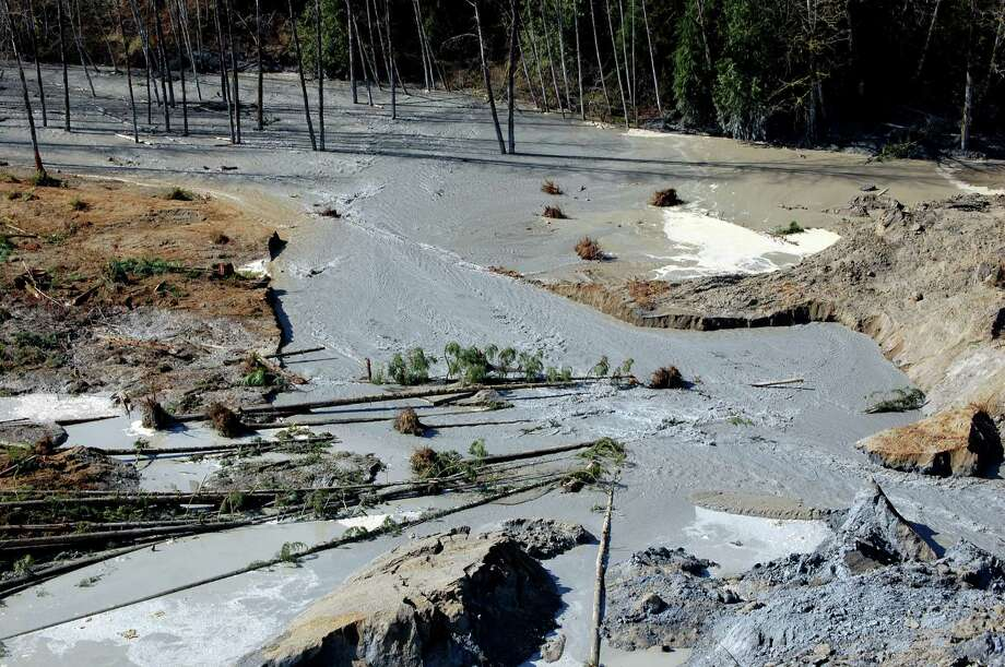 This Sunday photo, made available by the Washington State Dept of Transportation, shows a view of the damage from Saturday's mudslide. Photo: Uncredited, Associated Press / AP2014