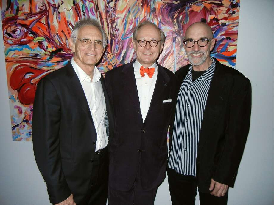Artist Charles Arnoldi (left), gallerist Martin Muller and illustrator Mark Ulriksen at Muller's Modernism West atelier. Photo: Catherine Bigelow, Special To The Chronicle
