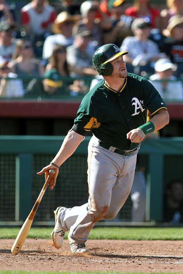 Stephen Vogt is hitting .357 with three HRs, 12 RBIs this spring. Photo: Lance Iversen, Reuters